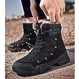 Botas de Senderismo Impermeables para Hombre Botas de Nieve para Caminar Antideslizantes Escalada Al Aire Libre Trekking Zapatos de Montañismo Zapatos de Algodón de Invierno,Black-46