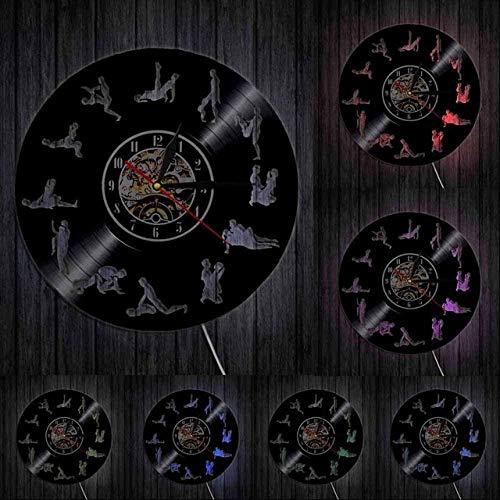 mbbvv Adult Wandkunst Wohnzimmer Wanduhr 24 Stunden Wanduhr Sex Positionen Vinyl Schallplatte Wanduhr Kama Sutra Kunst Wanduhr Sexual Love-with_Led