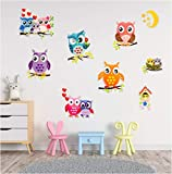 Owl Wall Decal Stickers - Spectacular 3D Wall Decor - Set of 9 Easy to Stick Removable Wall Decals for Kids Teens Bedrooms Boys Girls Rooms Peel and Stick