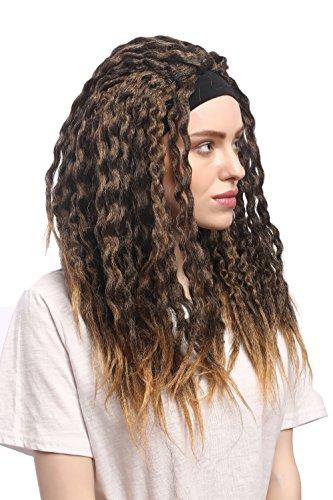 WIG ME UP - 90837-ZA36TZA103 Perücke Karneval Halloween Stirnband Dreads Dreadlocks Rasta Karibik Afro Braun Blond Mix