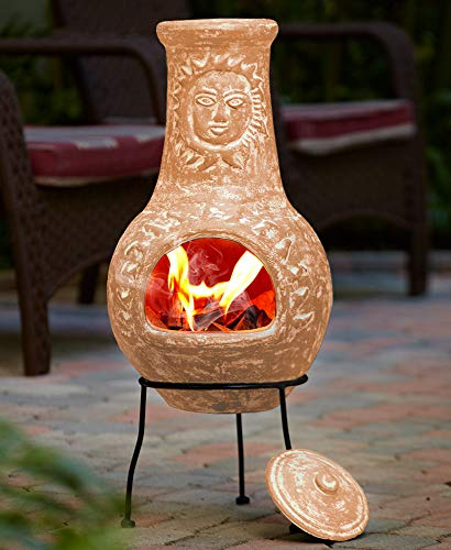 Fire Pit Terra Cotta Rustic Sun Face Outdoor Clay Chiminea Patio with Cover...
