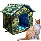 Caseta para gatos con techo de lona impermeable, resistente al viento,...