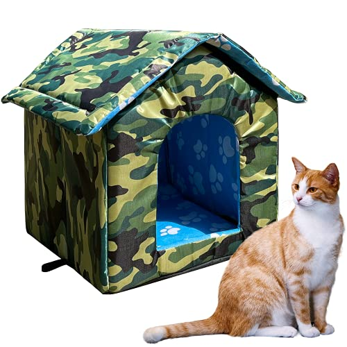 Katzenhaus mit wasserdichtem Segeltuchdach, Vier Jahreszeiten winddichte faltbare kleine Hundenest Zeltkabine Regensicherer Kätzchenhaus Schutz Bett für Katze kleines...