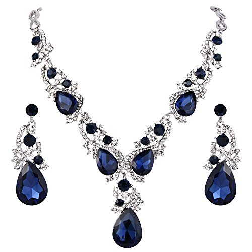 BriLove Wedding Bridal Necklace Earrings Jewelry Set for Women Multi Teardrop Cluster Crystal Statement Necklace Dangle Earrings Set Navy Blue Sapphire Color Silver-Tone