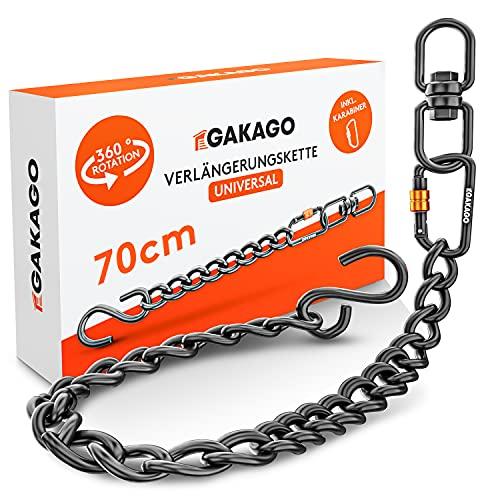Gakago Verlängerungskette als Hängesessel Kette, Schaukel Verlängerung, Boxsack Halterung - Extra Starke Stahlkette mit S-Haken, Drehwirbel und Karabiner - Flexible Aufhängung auch für Draußen