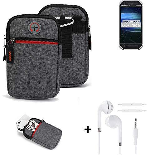 K-S-Trade® Gürtel-Tasche + Kopfhörer Für Panasonic Toughbook FZ-T1 Handy-Tasche Schutz-hülle Grau Zusatzfächer 1x