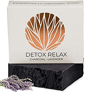 Charcoal Lavender Soap Bar Artisan Hand Made   100% Organic Natural & Non Toxic   Face, Shave, Body Wash for Acne, Eczema, Blackheads, Rosacea, Psoriasis - 4.5oz - REVERENCE NATURALS
