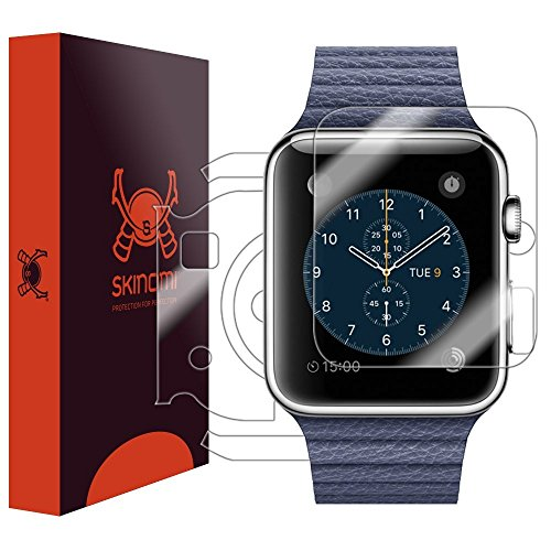 Skinomi TechSkin - pellicola protettiva per Apple Watch, Apple Watch 1 - 42mm - per il display e il retro del quadrante + resistente all'acqua