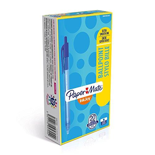 Papermate InkJoy 100 Penna a Sfera a Scatto, Punta Media da 1.0 mm, Confezione da 20, Blu