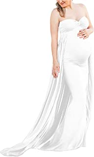 Maternity Off Shoulder Chiffon Fitted Gown Maxi Photography Tube Dress for Photoshoot Baby Shower Dress