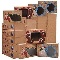 24 scatole da forno per biscotti natalizi, 22,9 x 14,6 x 7 cm, con finestra, per dolci, cupcake, biscotti, brownie, ciambelle, regali.