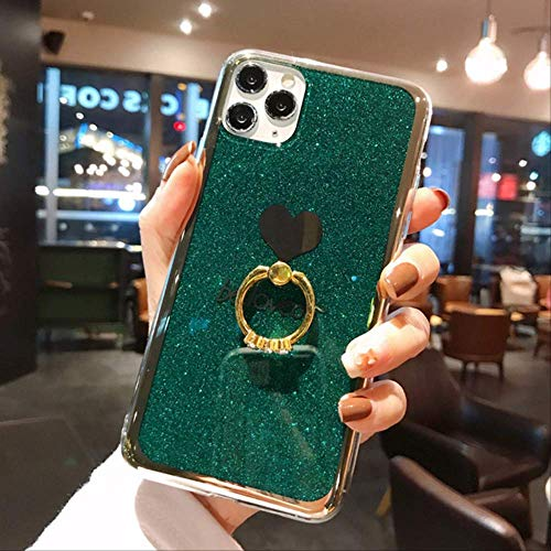 SSICA Chapado en Brillo Love Heart con Soporte para Anillo Funda para teléfono para iPhone 12 Pro MAX 11 Pro MAX XS MAX XR X 7 8 Plus Funda Trasera IMD Suave para iPhone 6 6S Veroscuro