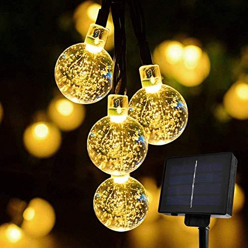 SUNNEST LED Lichterkette Solar Lichterkette 8 Blinkmodi wasserdichte Deko-Beleuchtung mit 30 Leds 6.5 Meter,warm weiß