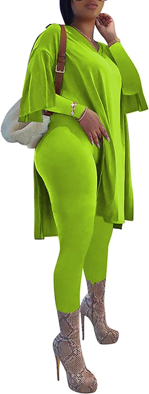 RAMOUG Women National products V Neck Long Split Set Pants Matching Shirt 2 Tulsa Mall Piece