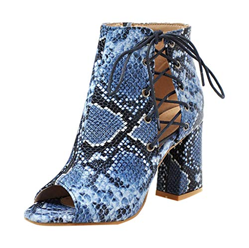 Buy Bargain jiumoji Women Ladies Snake Grain Short Boots Breathable Open-Toed Sandals Platform Wedge...