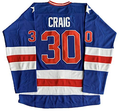 #21 Mike Eruzione 1980 Miracle On Ice USA Hockey 17 Jack O'Callahan 30 Jim Craig Stitched Hockey Jerseys (30 Blue, Small)