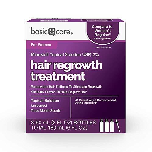 Amazon Basic Care Hair Regrowth Treatment For Women, Minoxidil Topical Solution, 2 , 6 Fluid Ounces
