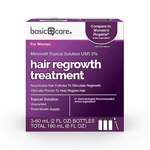 Amazon Basic Care Minoxidil Topical Solution USP, 2% Hair Regrowth Treatment for Women, 6 Fl Oz