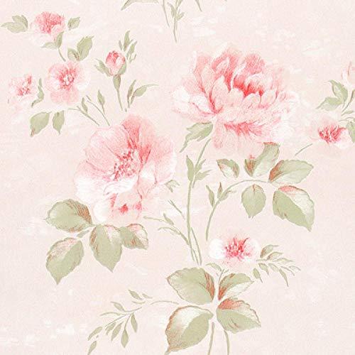 ACCEY Carta da parati fresca in stile pastorale coreano Carta da parati calda per cameretta con fiori rosa Camera da letto floreale rosa Sfondo A1257