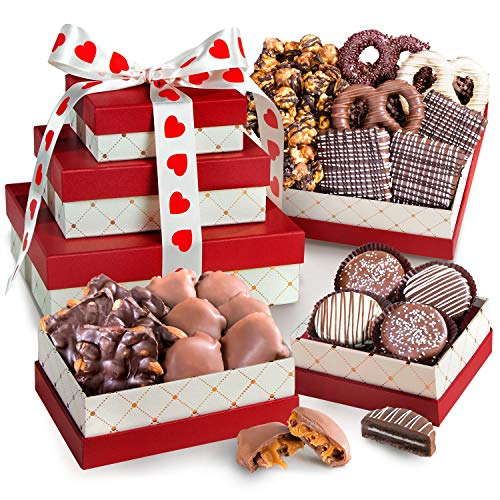 Golden State Fruit Valentine's Day Chocolate, Caramel and Crunch Gift Tower