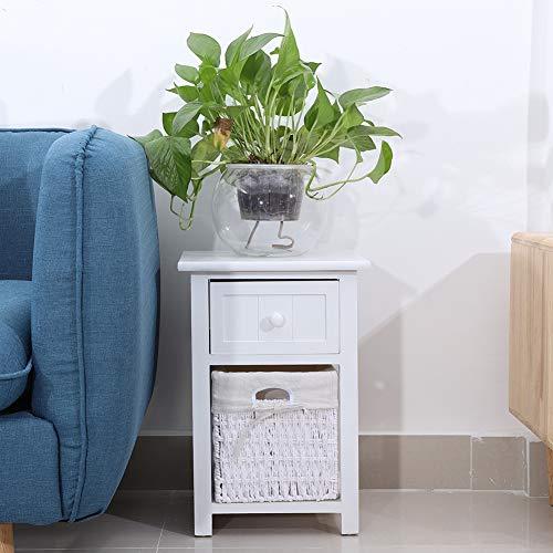 Greensen Nachttisch, 2 Nachttische aus Holz, Nachttisch mit Schublade und Aufbewahrungskorb für Schlafzimmer (weiß)