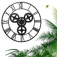 ウォールクロック70センチメートルファッション人格ローマ数字の金属ミュート壁掛け時計錬鉄中空ギア時計リビングルームの装飾