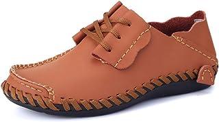 TAZAN Conduite pour Hommes Occasionnels en Cuir Chaussures été avec Bateau Bateau Mocassin Couture à la Main Soft Fond Res...