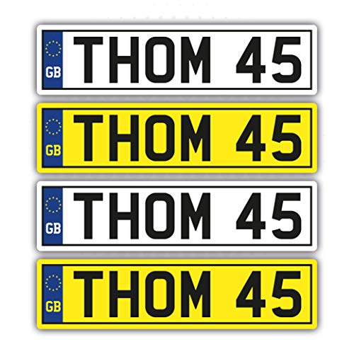 Landing Design's 4 x KIDS PERSONALISED NUMBER PLATES STICKERS (140mm x 35mm) CHILDREN'S TOY RIDE ON CAR SELF ADHESIVE VINYL STICKER