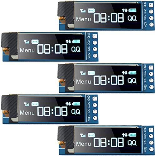 5 Stücke I2C Anzeige Modul 0,91 Zoll I2C SSD1306 OLED Anzeige Modul Blau I2C OLED Bildschirm Treiber DC 3,3V ~ 5V (Blaue Anzeige Farbe)