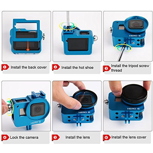 Luxebell Aluminium Alloy Skeleton Thick Solid Protective Case Shell with 52mm Uv Filter for Gopro Hero 7 6 5 Black Camera - Wide Angle Mode Have No Vignetting Blue