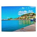 Sint Maarten Rompecabezas para Adultos, 500 Piezas de Madera, Regalo de Viaje, Recuerdo, 20.4 x 15 Pulgadas