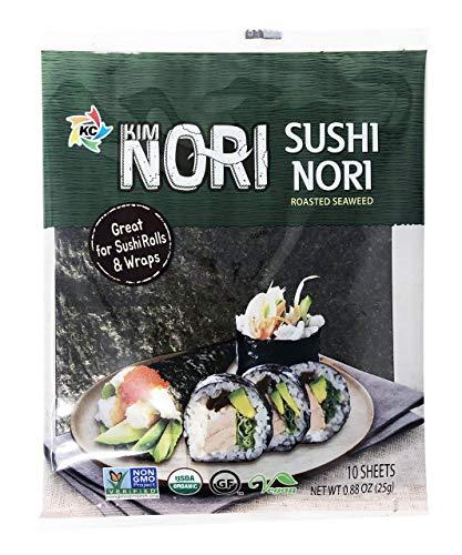 Organic 10 Full Sheet KIMNORI Sushi Nori Premium Restaurant Quality / Roasted Seaweed Rolls Wraps Snack 0.88 OZ ( 25g ) Laver, USDA ORGANIC, Gluten Free, No MSG, NON-GMO, Vegan, Kosher (10 Sheet)