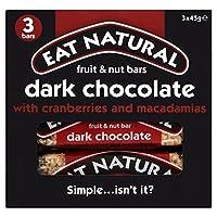 Eat Natural Dark Chocolate with Cranberries & Macadamias Bars (3x45g) クランベリーとマカダミアバーで自然なダークチョコレート( 3X45G )を食べる
