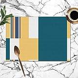 Bauhaus Blocks Stripes rhythmische abstrakte Vintage waschbar Tischsets für Esstisch Double Fabric...
