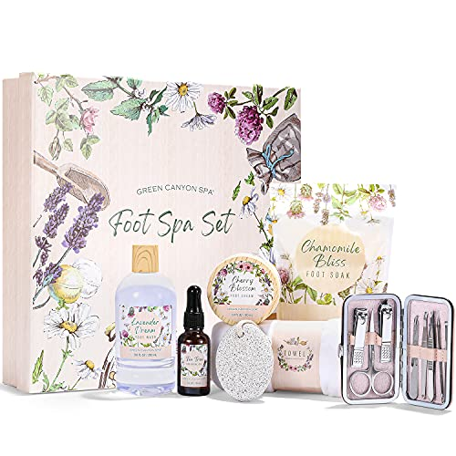 Spa Gift Set for Women, Tea Tree Oil Foot Care Kit with Bath Salts & Foot Lotion for Foot Soaking, Best Birthday Christmas Personal Treatment Gift