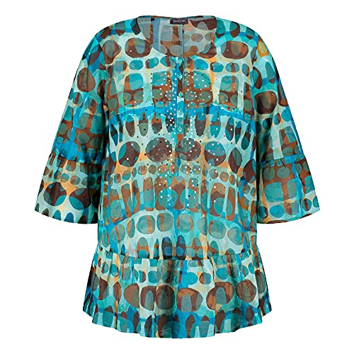 Samoon Damska bluzka z sercami EcoVero wyeksponowana bluzka duże rozmiary, Cameo Blue wzory, 48