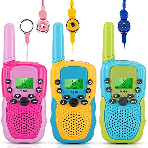 ThinkMax Walkie Talkies Niños 3 Piezas, 22 Canales 2 vías Juguete de Radio 3 Millas de Largo Alcance con Linterna LCD retroiluminada