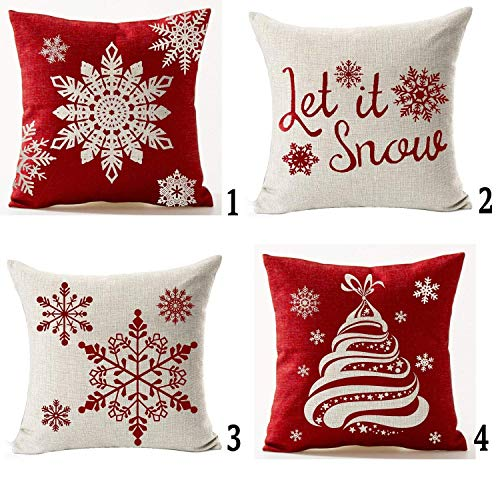 Andreannie Set of 4 Happy Winter Beige Shadow Various Let It Snow Snowflakes in Red Merry Cotton LinenThrow Pillow Case Personalized Cushion Cover New Home Office Decorative Square 18X18 Inches¡­