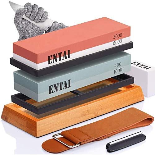 Knife Sharpening Stone Set ENTAI 4 Side Grit 400 1000 3000 8000 Water Stone Whetstone Set with product image