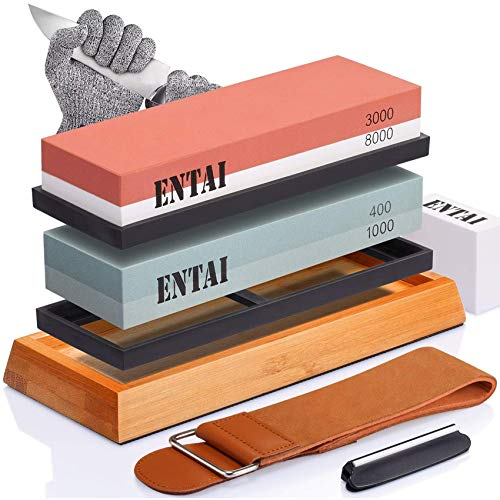 Knife Sharpening Stone Set, ENTAI 4 Side Grit 400/1000 3000/8000 Water Stone, Whetstone Set with Non-slip Bamboo Base, Flattening Stone, Angle Guide, Leather Strop and Cut Resistant Gloves