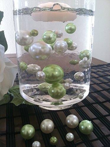 Vase Filler Pearls For Floating Pearl Centerpiece, 50 Lime Green/Ivory Pearls, Jumbo & Mix Size Pearls (Transparent Gel Beads Required To Create Floating Pearls Sold separately)