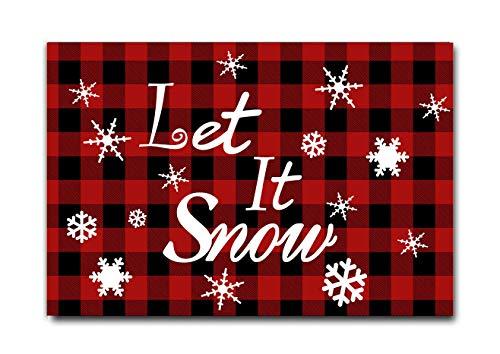 Rustic Buffalo Check Plaid Let it Snow Doormat- Merry Christmas Rug Winter White Snowflake Seasonal Floor Mat Welcome Doormat Xmas Doormat Holiday Door Mats