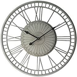 Country Lace Decorative Wall Clock Grey Open Face with Roman Numerals 28 inch Diameter Quiet Quartz Movement Easy-to-Read Face Decorative Large Wall Clock Bedroom, Living Room, Kitchen
