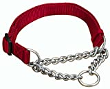 Hamilton 1 by 20 to 32-Inch Adjustable Combo Choke Dog Collar, Large, Chain and Red Nylon