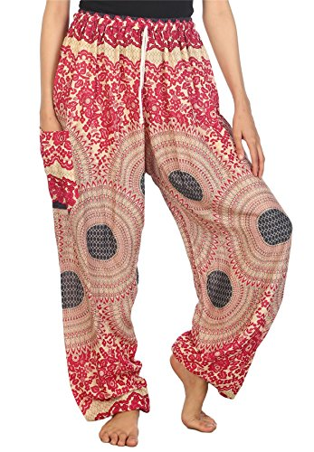 LOFBAZ Harem Pants for Women Yoga Boho Sweatpants Womens Hippie Bohemian Clothing Palazzo Beach Clothes Casual Pajama Rose 2 Pink X-Large