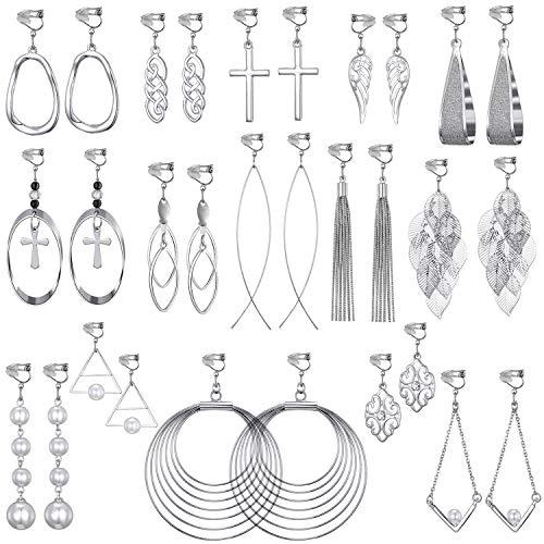 15 Pairs Wholesale Clip on Earrings for Women Trendy-Celtic Knot Earrings,Long Bar Earrings,Tear Drop Earrings Clip on Hoop Earrings for Women-Cross Clipon Earrings for Women and Teen Girls (#2)