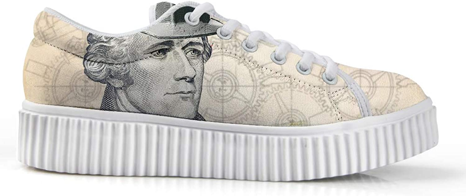 Owaheson Platform Lace up Sneaker Casual Chunky Walking shoes Low Top Women American Founding Father Alexander Hamilton