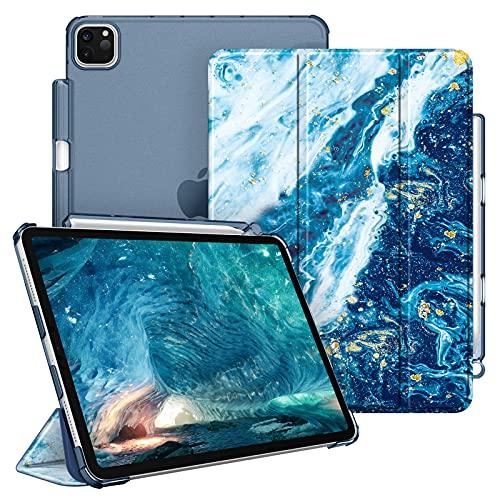 """FINTIE Funda para iPad Pro 11"""" (3.ª Generación, 2021) - Carcasa Ligera con Portalápiz Trasera Transparente Mate Auto-Reposo/Activación Compatible con iPad Pro 11"""" 2020/2018, Azul Océano"""