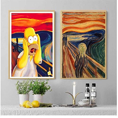 ASLKUYT Kreischen Homer Simpson Schrei Leinwand Kunstdruck Malerei Poster Wandbilder Für Wohnzimmer Dekoration Wohnkultur-50x70 cmx2 stücke Kein Rahmen