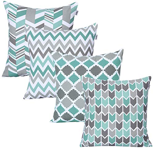 UMI by Amazon - Fundas de Almohada cuadradas, Suaves y Estampadas para el sofá, el Dormitorio y el Coche, 45 x 45 cm (Pack de 4),Light Teal- Dark Teal